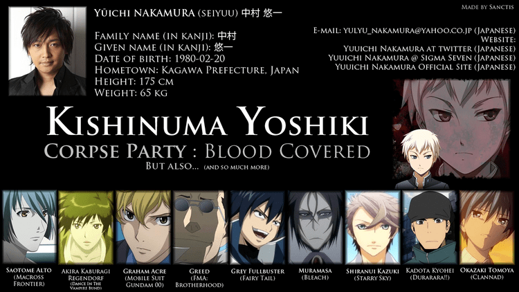 Poster featuring Yuichi Nakamura as the voice actor of Yoshiki Kishinuma, a character introduced in Corpsed Party: Blood Covered.